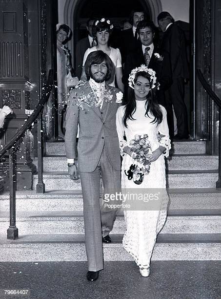 London England 1st September 1970 Barry Gibb lead singer of successful pop group The Bee Gees pictured with his bride Linda Gray after their wedding...