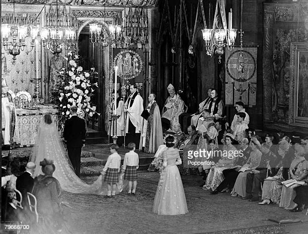 London England 20th November A general view inside Westminster Abbey during the wedding ceremony of Princess Elizabeth and Philip Mountbatten with...