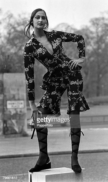 London England 21st April 1971 A model displays a printed 'Pantsuit' designed by Ossie Clark at a London showing