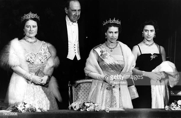 London England 22nd March 1956 Queen Elizabeth II accompanied by the Queen Mother Princess Margaret and Lord Waverley attended a gala performance by...