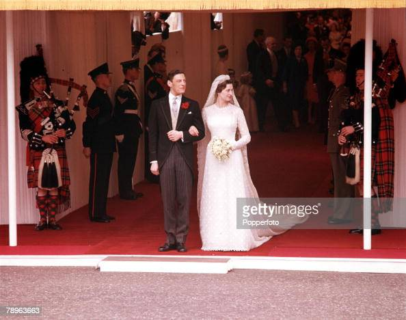 London England 24th April 1963 The Wedding of Princess Alexandra and Angus Ogilvy as the Bride and Groom emerge from Westminster Abbey after the...