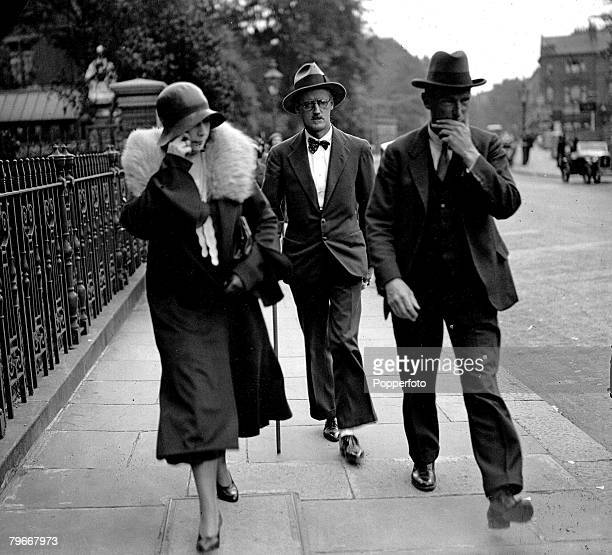 London England 4th July 1931 Irish novelist James Joyce pictured after his Kensington register office wedding to Miss Nora Barnacle of Galway Ireland...