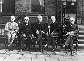 12/7/1918 London England An exclusive photograph of the premiers of the Allied countries with Marshal Ferdinand Foch and Italian Foreign Secretary...