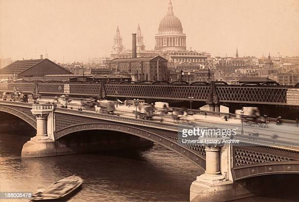 London England Blackfriar's Bridge With St Paul's Cathedral Behind From A Postcard Circa 1890