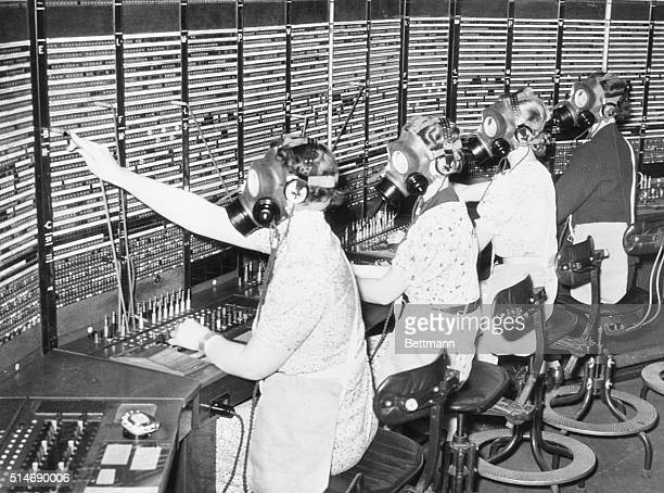 8/8/1938 London England British 'Hellogirls' ready to 'carry on' In case of an airraid England will expect every telephone operator to do her duty...