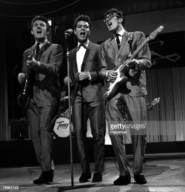 London England Singer Cliff Richard is pictured perfoming with 'The Shadows' including Brian Locking and Hank Marvin on ATV's 'Sunday Night at the...