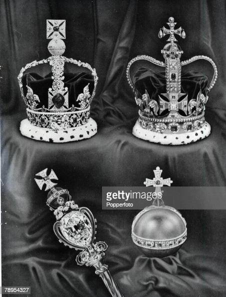 London England The Crown Jewels showing two crowns an orb and sceptre