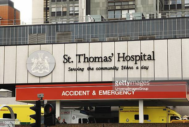 UK London Exterior image of the Accident Emergency entrance at St Thomas Hospital Founded almost 900 years ago in the 12th century the hospital is...