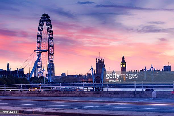 London Eye and The Houses of Parliament at sunset.