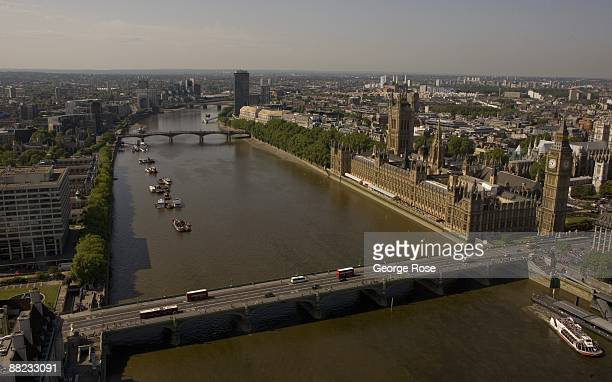 London Eye gondola provides a spectacular view that includes Parliament House The Thames River and Big Ben as seen in this 2009 London United Kingdom...