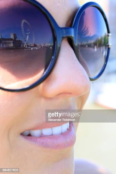 London Eye reflecting in sunglasses, Middlesex, United Kingdom