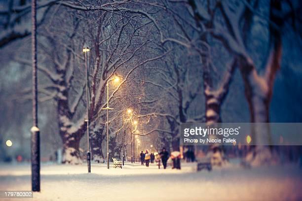 London Fields in the snow (tilt-shift)