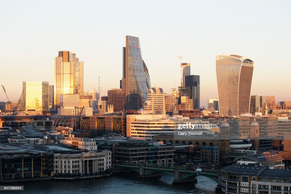 London financial district at sunset : Stock Photo