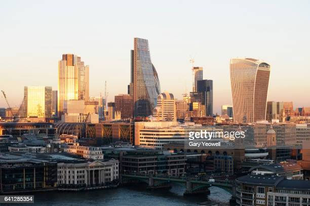 London financial district at sunset