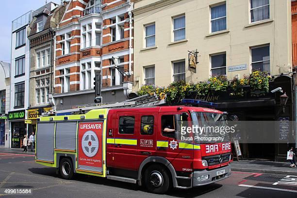 London Fire Brigade truck in London, UK