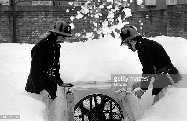 London Fire Brigade's new highexx unit with firemen Leading fireman Hall and Fireman Looney at Old Street Fire Station EC March 1975 7501572003