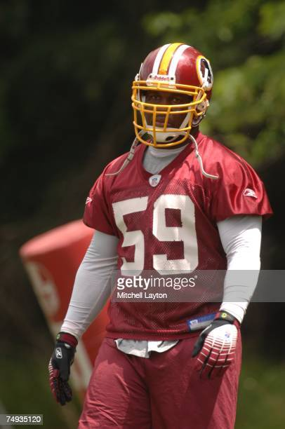 London Fletcher of the Washington Redskins looks on during Redskins mini camp at their practice facility on June 16 2007 in Ashburn Virginia
