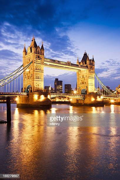 London Great Britain Tower Bridge River Thames Sunset Twilight Scene