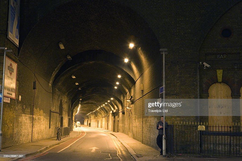 UK, London, illuminated underpass tunnel, night