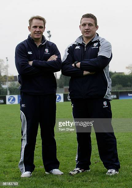 London Irish coaches Brian Smith and Toby Booth during the London Irish photo session at London Irish Rugby Ground on November 15 2005 in London...