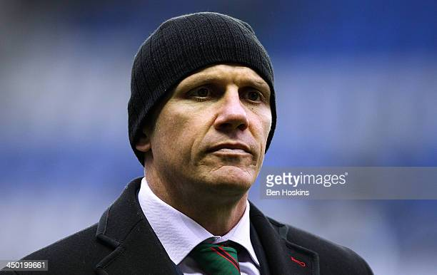London Irish head coach Brian Smith looks on ahead of the LV= Cup match between London Irish and Northampton Saints at Madejski Stadium on November...