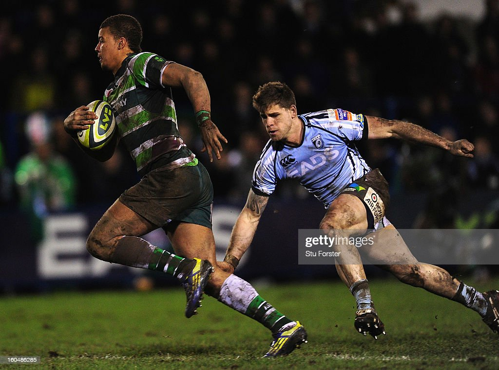 London Irish player Guy Armitage breaks past Blues player Gavin Evans during the LV= Cup match between Cardiff Blues and London Irish at the Arms Park on February 1, 2013 in Cardiff, Wales.