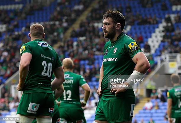 London Irish players look dejected after conceding a late try to loose the game during the Aviva Premiership match between London Irish and Saracens...
