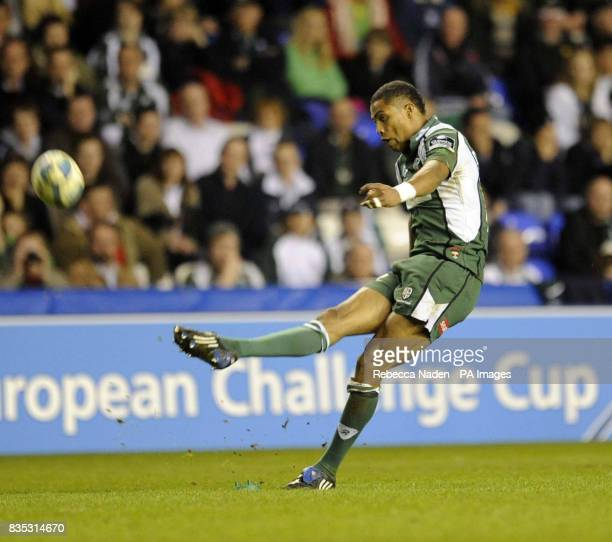 London Irish's Delon Armitage scores a penalty during there European Challenge Cup Quarter Final at the Madjeski Stadium Reading