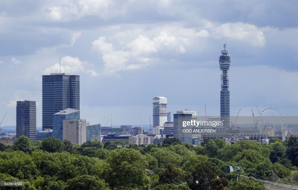 London landmarks, including the BT Tower and the London Eye are pictured on the skyline in London on June 25, 2016, after the announcement that the UK had voted on June 23 to leave the European Union in a national referendum. The result of Britain's June 23 referendum vote to leave the European Union (EU) has pitted parents against children, cities against rural areas, north against south and university graduates against those with fewer qualifications. London, Scotland and Northern Ireland voted to remain in the EU but Wales and large swathes of England, particularly former industrial hubs in the north with many disaffected workers, backed a Brexit. / AFP / Odd ANDERSEN