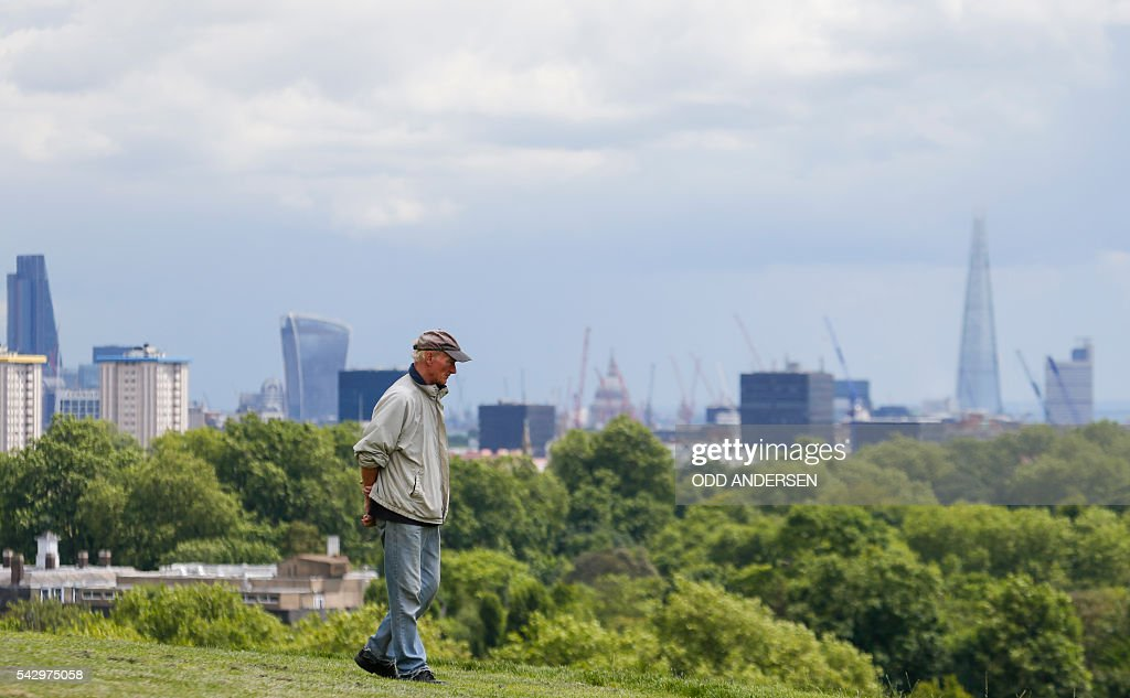 London landmarks, including the BT Tower and the London Eye are pictured on the skyline, from Primrose Hill in north London on June 25, 2016, after the announcement that the UK had voted on June 23 to leave the European Union in a national referendum. The result of Britain's June 23 referendum vote to leave the European Union (EU) has pitted parents against children, cities against rural areas, north against south and university graduates against those with fewer qualifications. London, Scotland and Northern Ireland voted to remain in the EU but Wales and large swathes of England, particularly former industrial hubs in the north with many disaffected workers, backed a Brexit. / AFP / Odd ANDERSEN