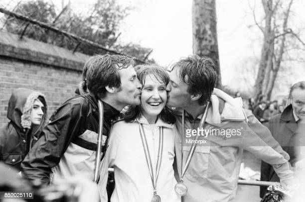 London Marathon 1981 Sponsored by Gillette Sunday 29th March 1981 two men and a girl the joint winners Dick Beardsley and Inge Simonson kiss the...