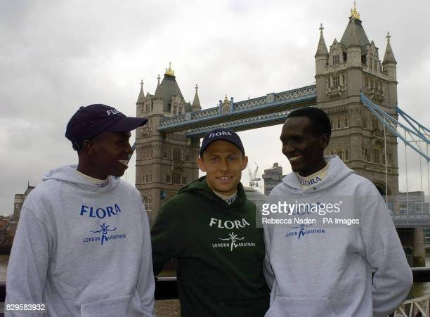London Marathon runners from left to right Evans Rutto Olympic Champion Stefano Baldini and Paul Tergat