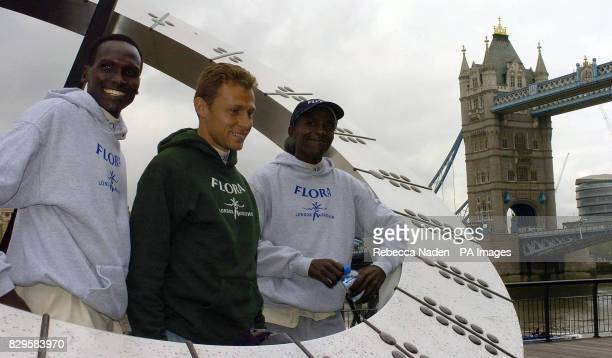 London Marathon runners from left to right Paul Tergat Olympic Champion Stefano Baldini and Evans Rutto