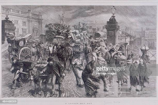 A London May Day showing pedestrians and horse drawn vehicles battling through heavy rain on London Bridge London c1870 Among the pedestrians is...