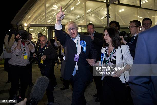 London Mayor and Conservative Party parliamentary candidate for Uxbridge and Ruislip South Boris Johnson gestures as he leaves the counting centre in...