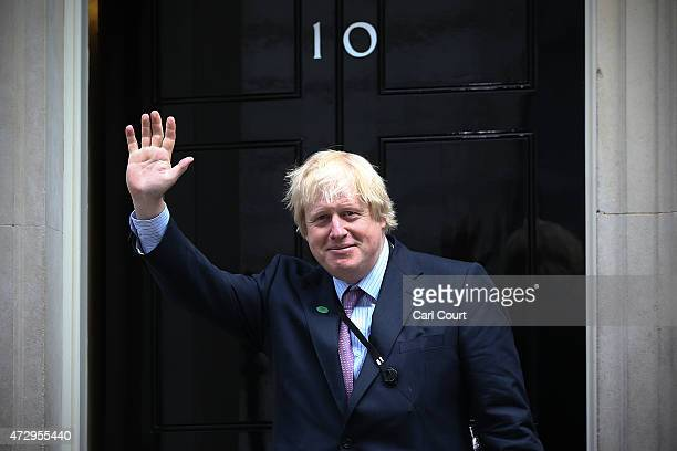 London Mayor and MP for Uxbridge and South Ruislip Boris Johnson arrives at Downing Street on May 11 2015 in London England Prime Minister David...