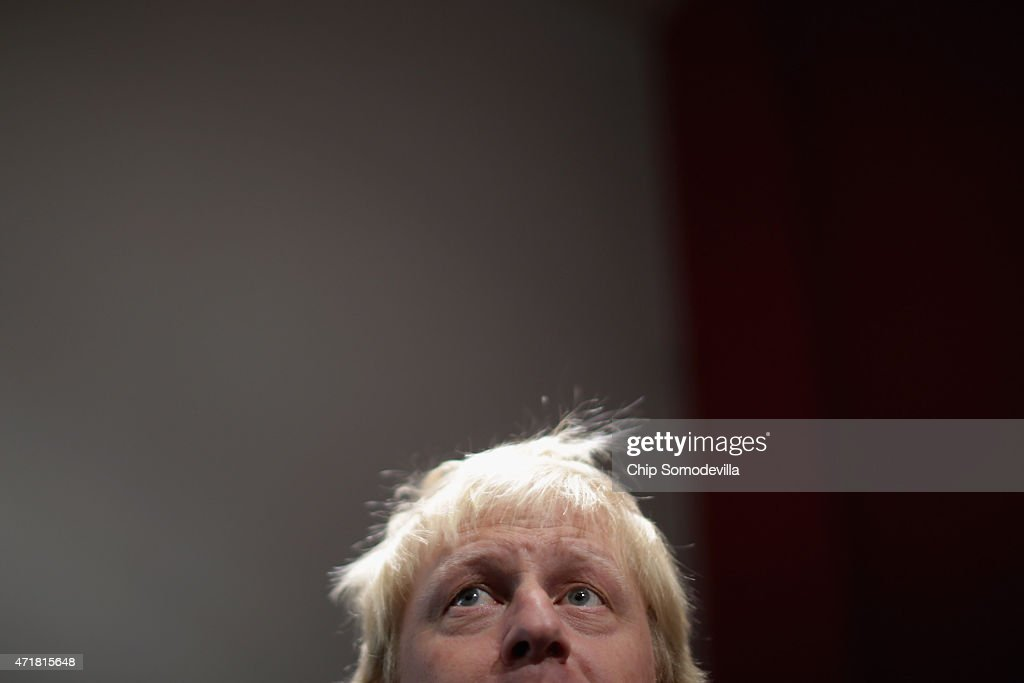 London Mayor Boris Johnson addresses supporters and journalists after touring the Ealing Hammersmith and West London College with Conservative...