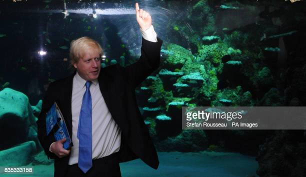 London Mayor Boris Johnson at the new Sea Life Aquarium in London where he was given the adoption papers for a Green Turtle that has been named Boris