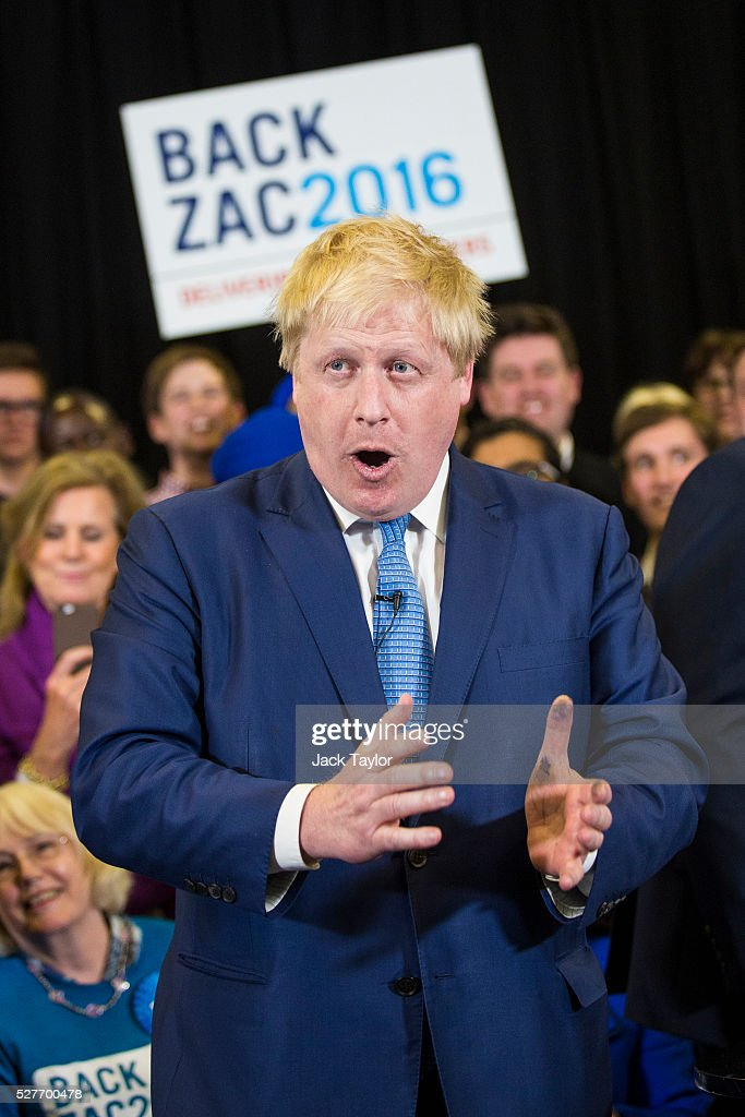 London Mayor <a gi-track='captionPersonalityLinkClicked' href=/galleries/search?phrase=Boris+Johnson&family=editorial&specificpeople=209016 ng-click='$event.stopPropagation()'>Boris Johnson</a> attends a mayoral campaign rally for Zac Goldsmith at Grey Court School in Richmond on May 3, 2016 in London, England. The British Prime Minister David Cameron joined the Conservative Mayoral candidate Zac Goldsmith at Grey Court School on the penultimate day of campaigning. Former pupils of the school include London's Cycling Commissioner, Andrew Gilligan. Londoners go to the polls on Thursday 5th May with the declaration expected later on Friday 6th. The current Mayor of London is the Conservative MP for Henley, <a gi-track='captionPersonalityLinkClicked' href=/galleries/search?phrase=Boris+Johnson&family=editorial&specificpeople=209016 ng-click='$event.stopPropagation()'>Boris Johnson</a>.