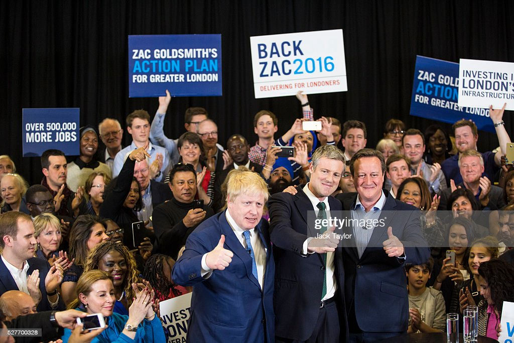 London Mayor <a gi-track='captionPersonalityLinkClicked' href=/galleries/search?phrase=Boris+Johnson&family=editorial&specificpeople=209016 ng-click='$event.stopPropagation()'>Boris Johnson</a>, Conservative candidate for Mayor of London, <a gi-track='captionPersonalityLinkClicked' href=/galleries/search?phrase=Zac+Goldsmith&family=editorial&specificpeople=161321 ng-click='$event.stopPropagation()'>Zac Goldsmith</a> and British Prime Minister <a gi-track='captionPersonalityLinkClicked' href=/galleries/search?phrase=David+Cameron+-+Pol%C3%ADtico&family=editorial&specificpeople=227076 ng-click='$event.stopPropagation()'>David Cameron</a> attend a mayoral campaign rally at Grey Court School in Richmond on May 3, 2016 in London, England. The Prime Minister joined the Conservative Mayoral candidate at Grey Court School on the penultimate day of campaigning. Former pupils of the school include London's Cycling Commissioner, Andrew Gilligan. Londoners go to the polls on Thursday 5th May with the declaration expected later on Friday 6th. The current Mayor of London is the Conservative MP for Henley, <a gi-track='captionPersonalityLinkClicked' href=/galleries/search?phrase=Boris+Johnson&family=editorial&specificpeople=209016 ng-click='$event.stopPropagation()'>Boris Johnson</a>.