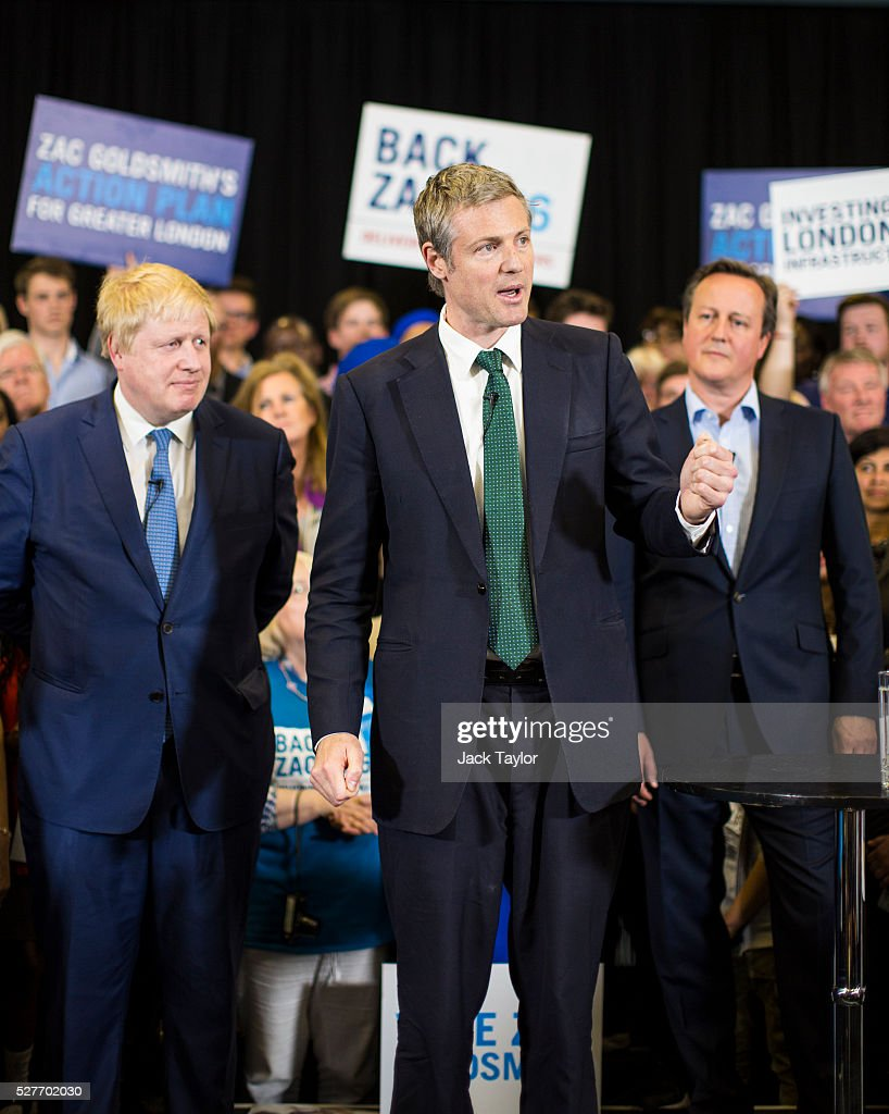 London Mayor Boris Johnson; Conservative candidate for Mayor of London, Zac Goldsmith and British Prime Minister David Cameron attend a mayoral campaign rally at Grey Court School in Richmond on May 3, 2016 in London, England. The Prime Minister joined the Conservative Mayoral candidate at Grey Court School on the penultimate day of campaigning. Former pupils of the school include London's Cycling Commissioner, Andrew Gilligan. Londoners go to the polls on Thursday 5th May with the declaration expected later on Friday 6th. The current Mayor of London is the Conservative MP for Henley, Boris Johnson.