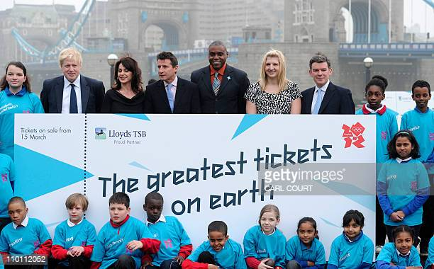 London Mayor Boris Johnson former Romanian gymnast Nadia Comaneci London 2012 chairman Lord Coe US track and field Olympic gold medallist Carl Lewis...