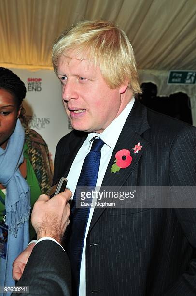 London mayor Boris Johnson gives an interview at the Oxford Street lights switching on ceremony on on November 3 2009 in London England