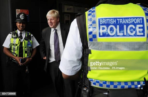 London Mayor Boris Johnson meets British Transport Police at Finsbury Park Underground Station in London to announce British Transport Police...