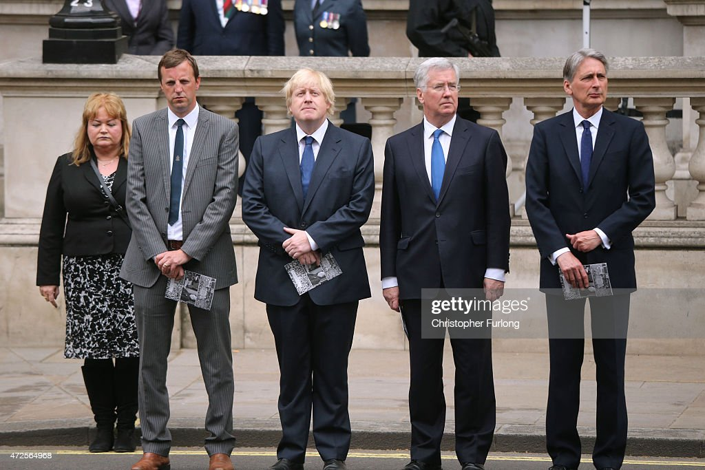 London Mayor Boris Johnson, Michael Fallon and Foreign Secretary Philip Hammond attend a tribute at the Cenotaph to begin three days of national commemorations to mark the 70th anniversary of VE Day on May 8, 2015 in London, England. Leaders of the United Kingdom are gathering together after the country went to the polls yesterday and voted to keep Conservative party leader David Cameron as Prime Minister. Great Britain now starts three days of national commemorations of street parties, concerts and other events across the country to remember the end of World War II in Europe.
