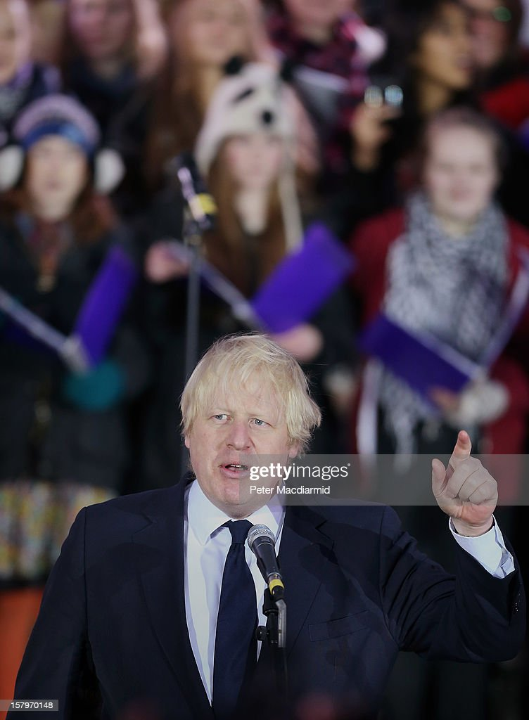 London Mayor <a gi-track='captionPersonalityLinkClicked' href=/galleries/search?phrase=Boris+Johnson&family=editorial&specificpeople=209016 ng-click='$event.stopPropagation()'>Boris Johnson</a> speaks at a Christmas carol concert held in Trafalgar Square on December 8, 2012 in London, England. The concert is being held to thank the London Olympic 2012 volunteers. London Mayor <a gi-track='captionPersonalityLinkClicked' href=/galleries/search?phrase=Boris+Johnson&family=editorial&specificpeople=209016 ng-click='$event.stopPropagation()'>Boris Johnson</a> thanked the 8000 which he said 'proved to be the beating heart of the Games'.