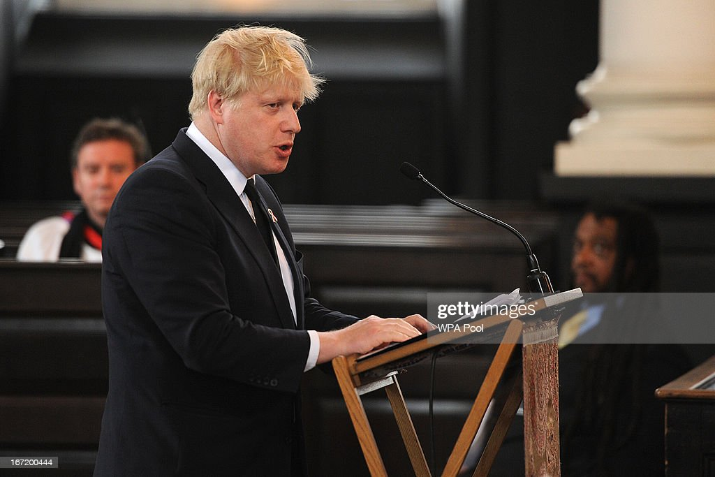London Mayor Boris Johnson speaks at a memorial service for Stephen Lawrence at St Martin-in-the-Fields Church on April 22, 2013 in London, England. Stephen Lawrence, a black A-level student was stabbed to death at a bus stop twenty years ago by a gang of white youths in a racially motivated attack in Eltham, south-east London, on April 22, 1993. Two men, Gary Dobson and David Norris were found guilty of his murder in January 2012.