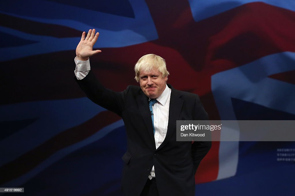 London mayor <a gi-track='captionPersonalityLinkClicked' href=/galleries/search?phrase=Boris+Johnson&family=editorial&specificpeople=209016 ng-click='$event.stopPropagation()'>Boris Johnson</a> waves after speaking to conference on the third day of the Conservative party conference on October 6, 2015 in Manchester, England. The third day of the 2015 autumn conference is being dominated by tough new measures to deal with mass immigration in the Conservative conference speech.