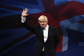 London mayor Boris Johnson waves after speaking to conference on the third day of the Conservative party conference on October 6 2015 in Manchester...