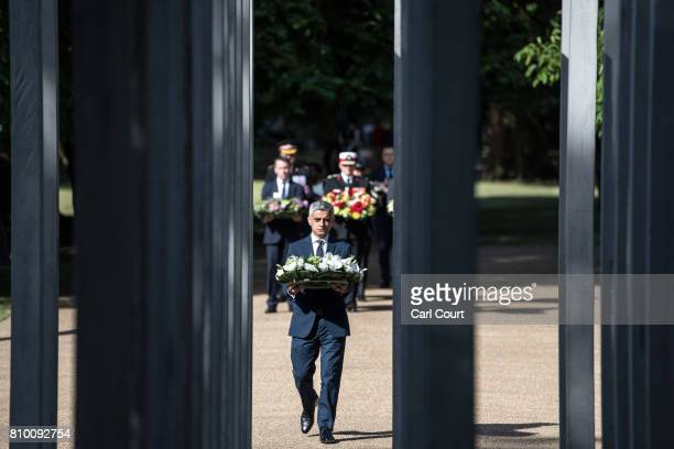 London mayor Sadiq Khan lays a wreath at the 7/7 Memorial in Hyde Park to mark the 12th anniversary of the terror attacks in London on July 7 2017 in...